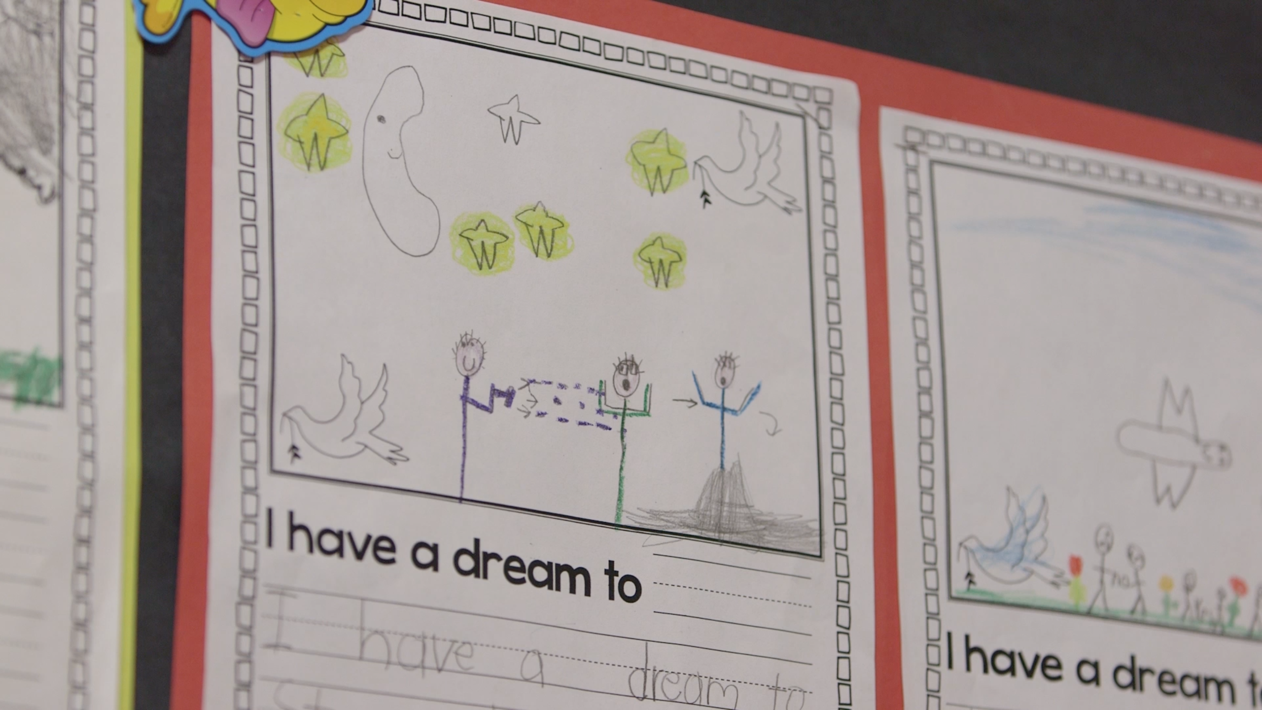 At Community United Elementary School, children draw about their dreams to stop gun violence. Photo: Adam Grossberg/KQED.