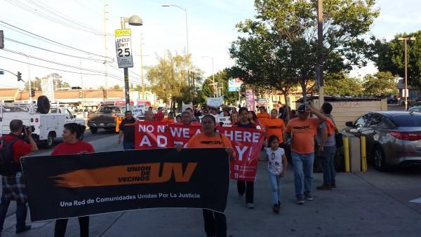 Inquilinos en pie de lucha en  Los Ángeles, California. Foto: Rubén Tapia.