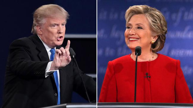 En el debate presidencia, Donald Trump y Hillary Clinton. Foto: www.lfpress.com
