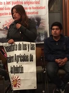 """María del Carmen Mata López, dice sentirse """"orgullosamente"""" hija de de padres y abuelos campesinos de Oaxaca, asentados en ese exuberante valle agrícola de Baja California."""