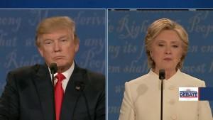Los candidatos presidenciales, Donald Trumpo y Hillary Clinton durante el debate de anoche. Foto: News 12 New Jersey