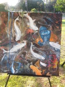 Cuadro del artista Víctor Robinson, parte de su obra Inmersiones, en Los Ángeles, CA. Foto: Rubén Tapia.