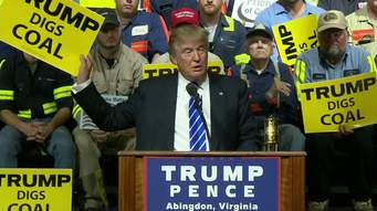 Donald j. Trump en un evento de campaña con trabajadores de  minas de carbón, prometiendo la revitalización de esa industria. Foto: ¡2.cdn.turner.com