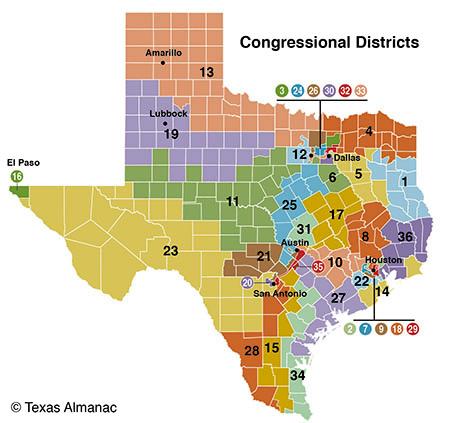 Mapa distrital del estado de Texas. Foto: Texas Almanac