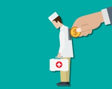 Pay for medicine concept. Flat style paying for doctor service conceptual web vector illustration. Big hand insert coin into hole in doctor back. Costly expensive pricey medical insurance.