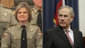 La del Sheriff del Condado de Travis, Sally Hernández, después de ser juramentado en el cargo en Austin, Texas, el 4 de enero de 2017. A la derecha, el Gobernador Greg Abbott. Foto: CBS News