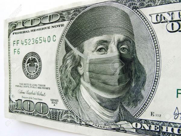 En esta foto aparece Benjamin Frankilin amordazado con una máscara médica. Foto: www.123rf.com
