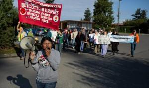 Trabajadores y personas solidarias luchan por la justicia.