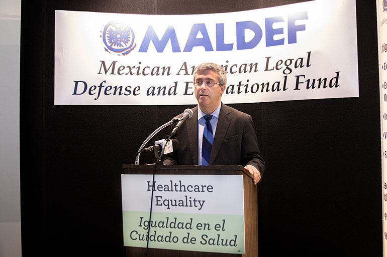 Tom Saenz, MALDEF president and chief lawyer, speaks at a press conference in Los Angeles on July 12. (Courtesy of SEIU-UHW)