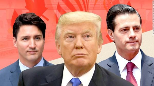 Presidentes y Primer Ministro de los tres países integrantes del Tratado de Libre Comercio de América del Norte. Justin Trudeau, Donald Trump y Enrique Peña Nieto. Foto: CNN Money.
