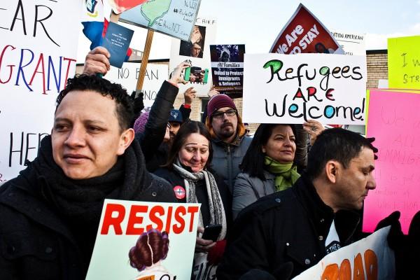 Reacción a la prohibición de viajes emitida a principios de año por la administración Trump. Foto: The New York Times.