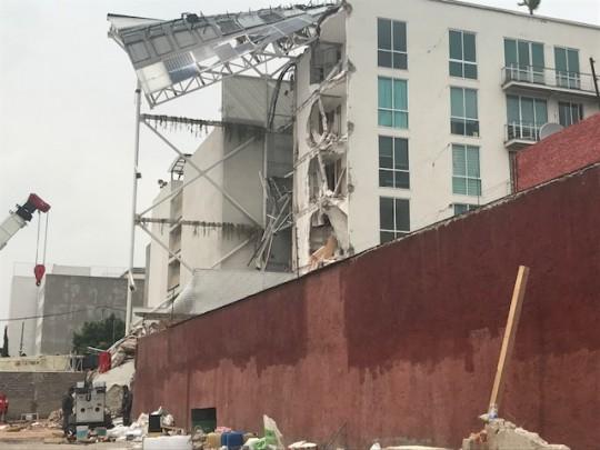 Estructura destruida en la capital mexicana.