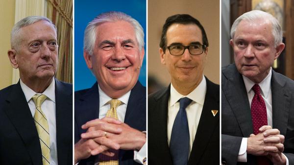 De izquierda a derecha: el general jubilado James Mattis; ex presidente de Exxon Mobil, Rex Tillerson; Steve Mnuchin y el senador Jeff Sessions ocupan cargos de alto perfil en el Gabinete del presidente Trump. Foto: NPR.