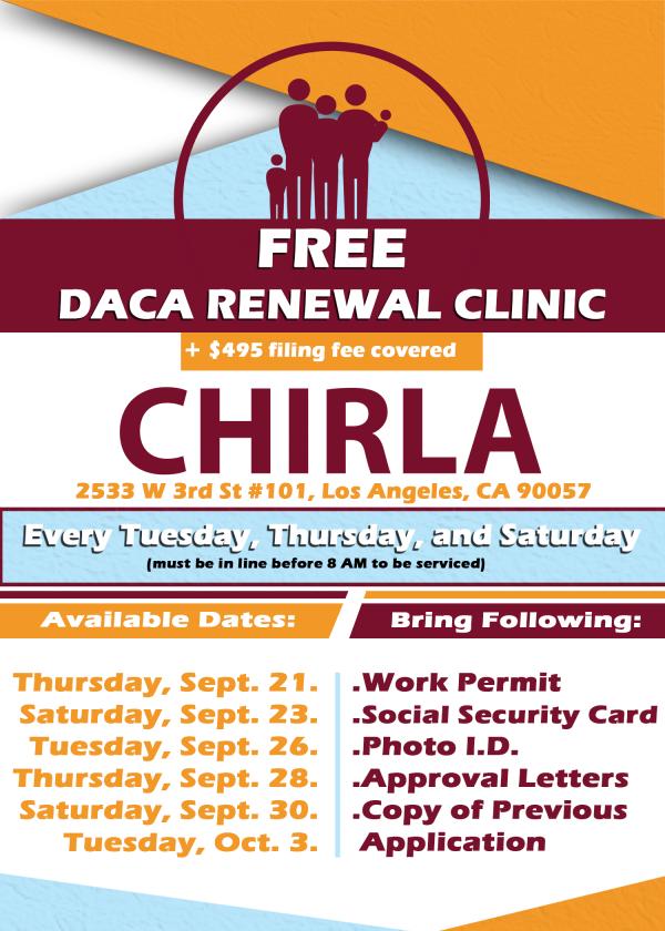 Calendario de clínicas para la renovación de DACA en Los Ángeles California. Foto: Distrito Escolar Unificado de Los Ángeles.