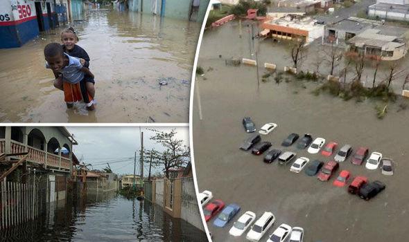 Tras el paso del huracán maría en Puerto Rico collage. Foto: Daily Express.