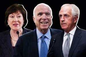 Estos senadores Susan Collins (Maine), John McCain (Arizona), y Bob Corker (Tennessee), han manifestado discrepancias en la forma como está escrito el Proyecto de recortes de impuestos de los republicanos. Foto: NYMag.