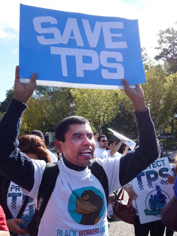 Un manifestante centroamericano se une a la protesta contra el fin del TPS.
