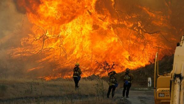 Bomberos del equipo de evacuaciones por incendios forestales. Foto: abc7.news