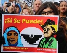"""Miembros de organizaciones sindicales y activistas se manifiesta n también en la capital del país con un lema de aliento: """"¡Sí se Puede!""""."""
