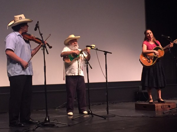 "Artemio Posadas, National Heritage Fellow, and his students Dolores ""Lolis"" García and Pablo Quiroz."