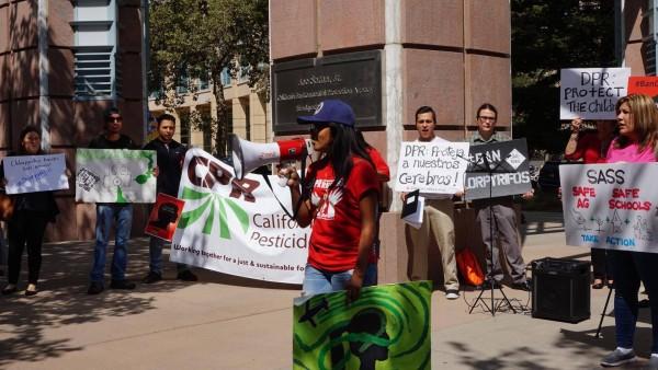Familias afectadas por el clorpiryfos protesta en Sacramento, CA, por el uso de este peligros pesticida que ya ha sido prohibido por sus efectos tan dañinos para la salud.