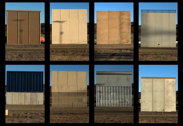 Prototipos del muro que ya se han construido en la frontera con México en San Diego, California. Foto: www.nbcnews.com.