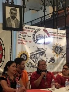 Francisco Grado Villa, delgado del Congreso Nacional Indígenas (CNI), cuyo órgano representativo en las elecciones federales mexicanos es el Concejo Indígena de Gobierno (CIG) denuncia la rapacidad de las empresas que en su estado acaparan tierras y aguas. Foto: MVG.