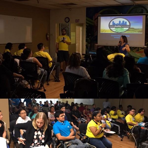 Building Healthy Communities  Fresno, junto a Californianos por la Justicia y Fresno Center for New Americans dando taller a jóvenes.