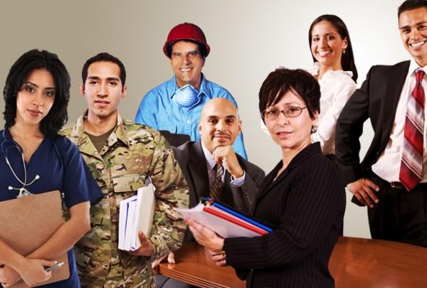 Trabajadores latinos de distintas profesiones, durante el mes de la Herencia Hispana. Foto: www.bls.gov.