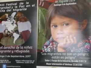 Cartel alusivo a la niñez de los migrantes en Casa Migrante.