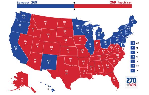 Así luce el mapa electoral de Estados Unidos para 2020. Foto: www.270townin.com