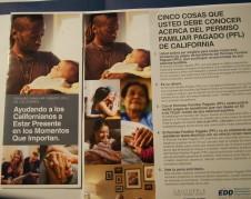 Folleto del EDD anunciando los beneficios del Permiso Familiar Pagado.
