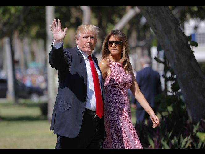 Rumbo a la iglesia el Domingo de Pascua, Trump y su esposa. Foto: KSL.com