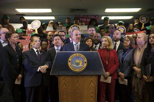 Fiscal General de Nueva York haciendo el anuncio de la demanda contra la inclusión de la ciudadanía en el censo 2020. Foto: Fiscalía de NY.