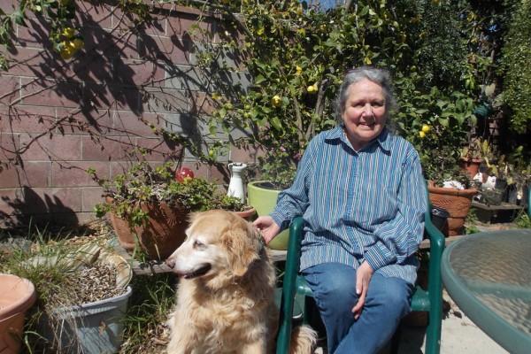 Inez Shakman vive en Ventura, California, y fue diagnosticada recientemente con enfermedad pulmonar obstructiva crónica (EPOC). Pasea a su perro, Joy, cuando puede, pero le falta el aliento con facilidad. (Anna Gorman/California Healthline)