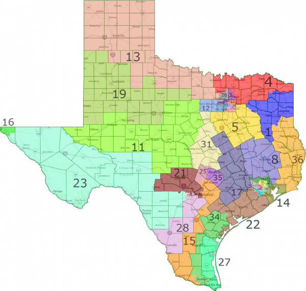 Mapa de distritos electorales en Texas. Foto: Junta de Elecciones texana.