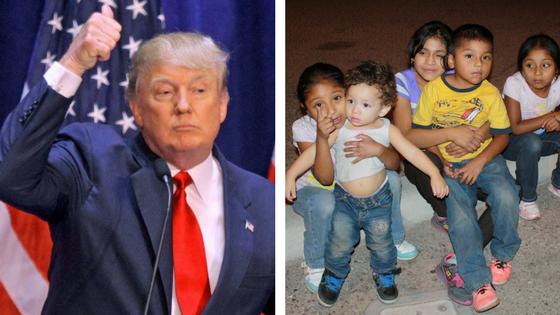 Presidente Trump usando a los niños arrancados de los brazos de sus padres y madres para ser usados como moneda de cambio para el financiamiento de su muro fronterizo. Foto: Mother Jones.