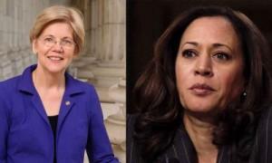 Senadoras demócratas Elizabeth Warren, de Massachusetts (izq), y Kamala Harris, de California, las más bocales de la cámara alta contra las políticas antinmigrantes de Trump. Foto: www.liberaladvocate.com.