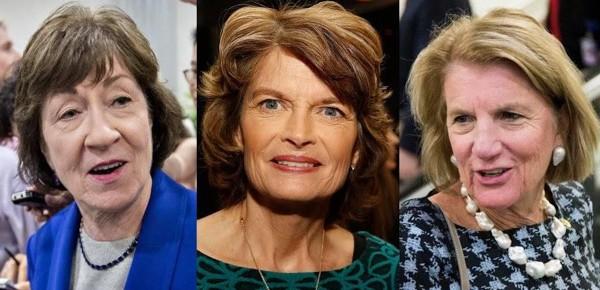 Senadoras republicanas Susan Collins (Maine), Lisa Murkowski (Alaska), y Shelley Moore Capito (West Virginia). Foto: AP.