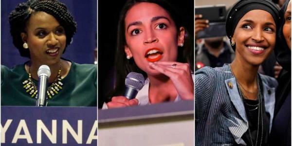 Ganadoras en la eleción intermedia a la Cámara de Representantes 2018: Ayanna Pressley, Massachussetts; Alexandria Ocasio-Cortez, New York e Ilhan Omar, Minnesota. Foto: AP.