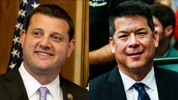 Congresistas David Valadao, a la izquierda y quien por fin concedió su derrota, y TJ Cox, quien al parecer se llevó el triunfo por el Distrito 21 de California. Foto: ABC30.com.