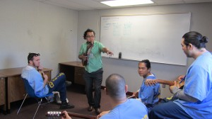 César Castro –jarana en mano-, responde a una pregunta de uno de sus alumnos.