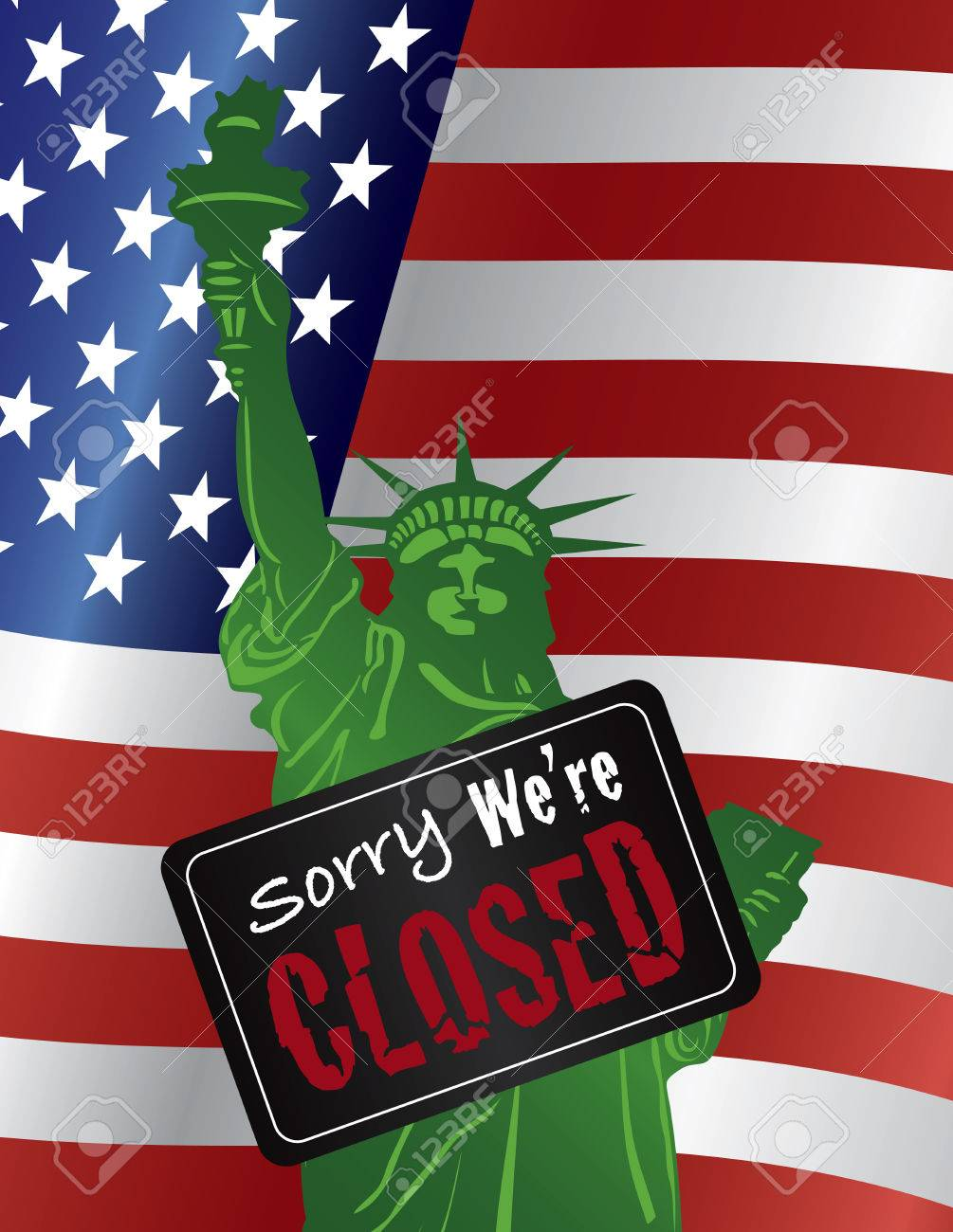 123RF.com Government Shutdown Statue of Liberty Closeup with Sorry We Are Closed Sign on USA American Flag