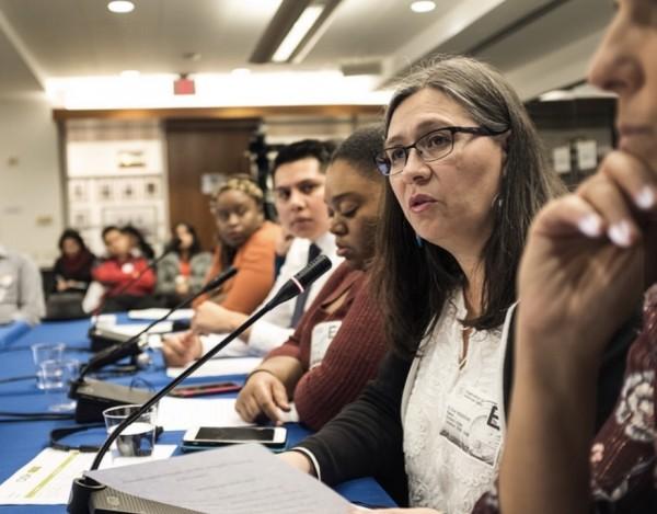 Maru Mora Villalpando, en la audiencia de la Comisión Interamericana de Derechos Humanos (CIDH), donde el 5 de diciembre de 2018 rindió testimonio, en la ciudad de Washington, DC. Foto: Cortesía de la CIDH.