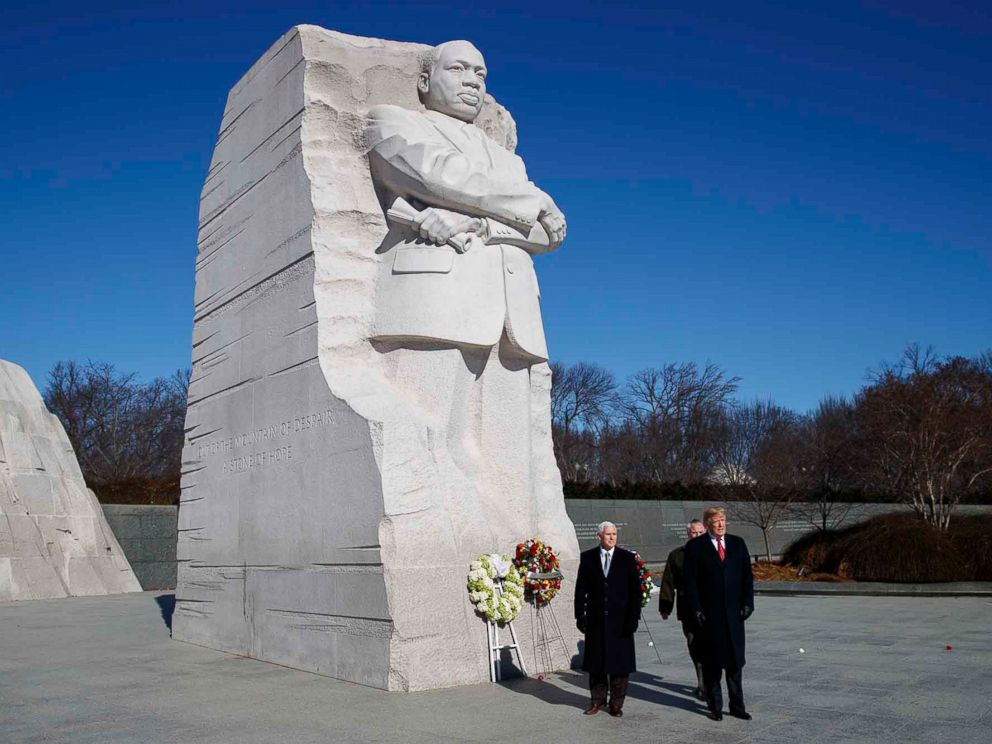 Trump, Pence commemorate Martin Luther King Jr. Day with brief visit ... ABC News