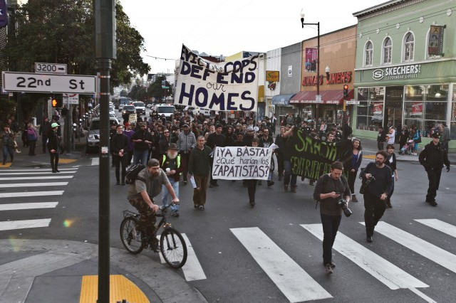 KQED Anti-gentrification protesters welcomed in 2014 with a march through San Francisco's Mission district.