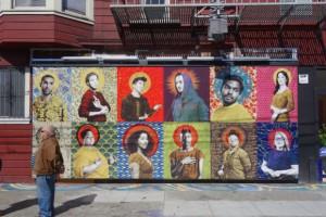Mural transgénero urbano de arte callejero de Gabriel García Román en la cartelera digital de la Galería de la Raza en Bryant St @ 24th St en Mission District de San Francisco, CA. Foto: streetartsf.com.