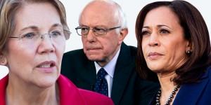 Precandidatos demócratas a las elecciones presidenciales de Estados Unidos en 2020, Elizabeth Warren, Bernie Sanders y Kamala Harris. Foto: www.elle.com.