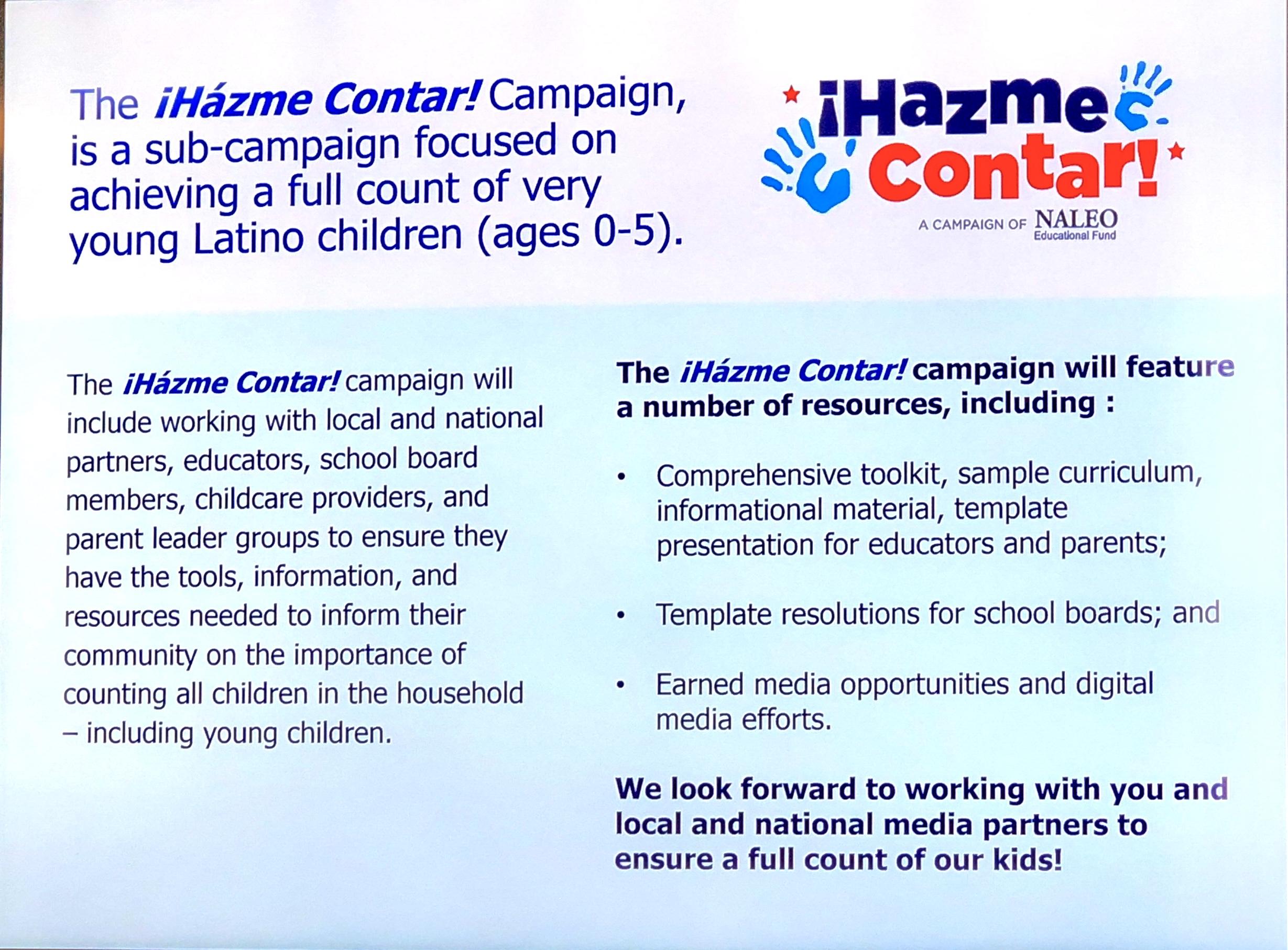 Póster de la campaña Hazte Contar. Foto: Jose Lopez Zamorano