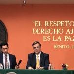 El canciller mexicano Marcelo Ebrard expone los resultados de las  negociaciones con Estados Unidos.  Foto: Jose Lopez Zamorano